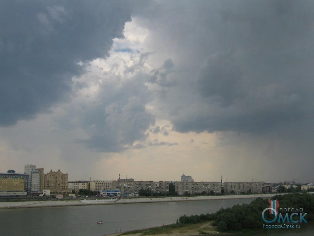 Вид с «Ленинградского» моста на правый берег Иртыша