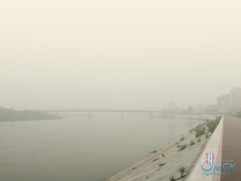 Задымление. Вид на север с Иртышской набережной