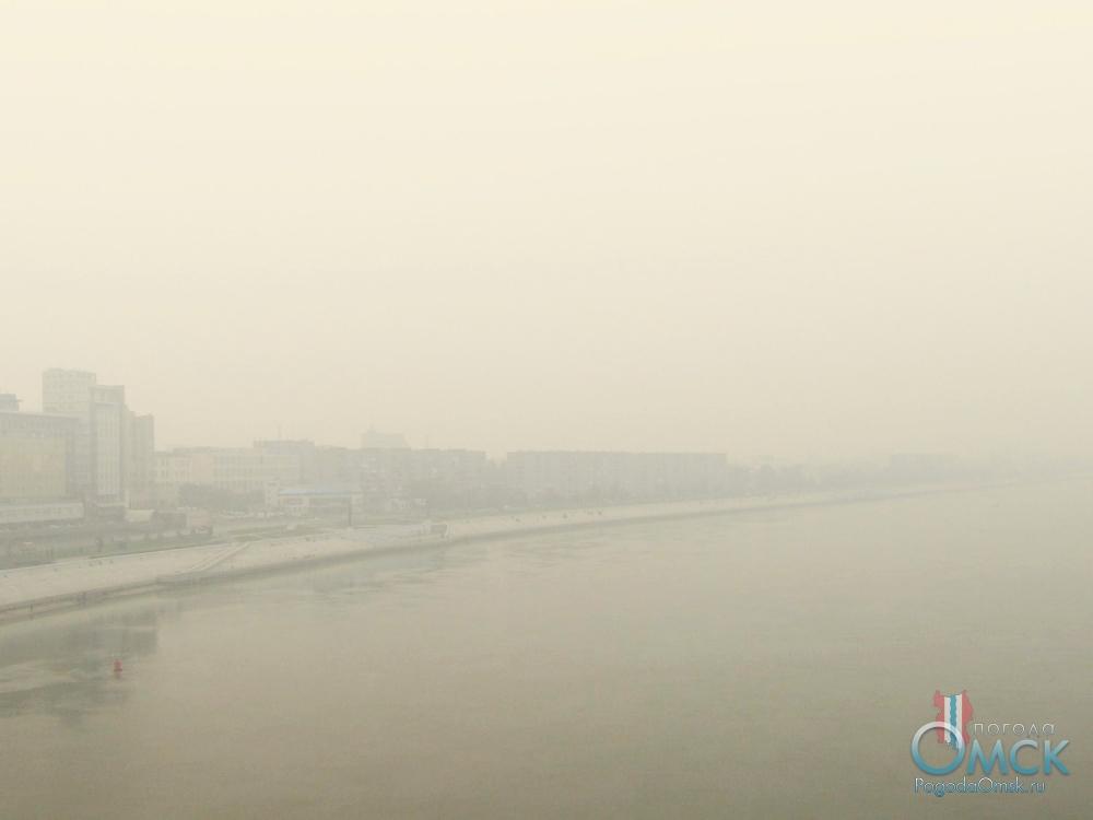 Задымление. Вид на правый берег Иртыша с Ленинградского моста