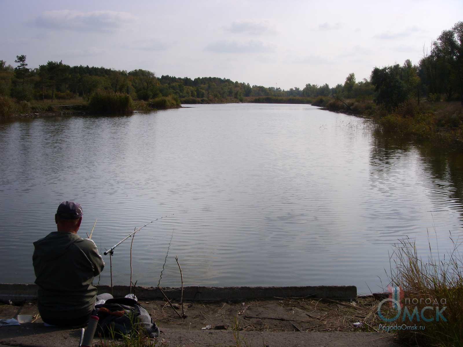 Рыбак на берегу пруда